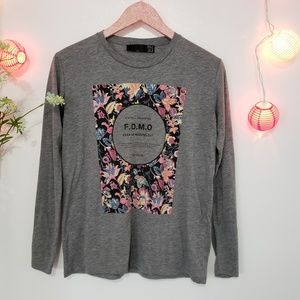 TRF by Zara gray with floral pullover S